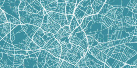 Detailed vector map of Birmingham, scale 1:30 000, UK Illustration