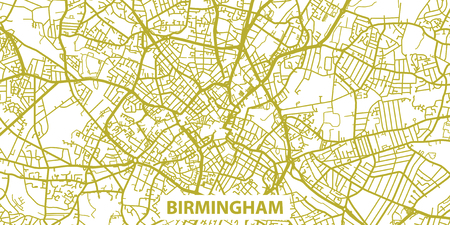 Detailed vector map of Birmingham in gold with title, scale 1:30 000, UK Illustration