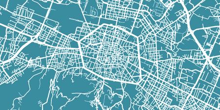 ボローニャの詳細なベクター地図、スケール 1:30 000、イタリア