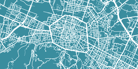Detailed vector map of Bologna, scale 1:30 000, Italy Illustration