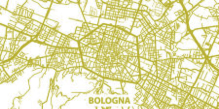 Detailed vector map of Bologna in gold with title, scale 1:30 000, Italy