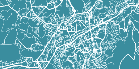 Detailed vector map of Braga, scale 1:30 000, Portugal Illustration