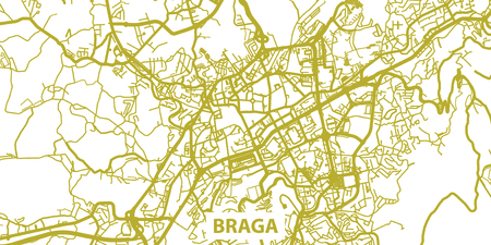 Detailed vector map of Braga in gold with title, scale 1:30 000, Portugal