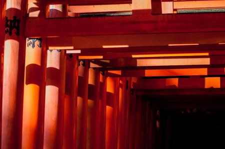 Hundreds of red columns at Fushimi Inari