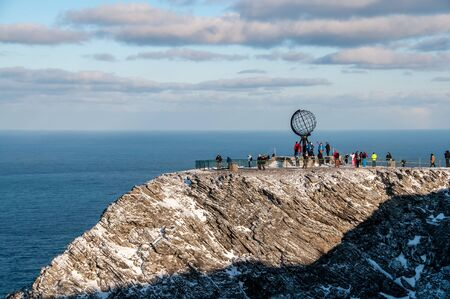 the famous large metallic sphere on the cliffs of the North Cape Stock Photo
