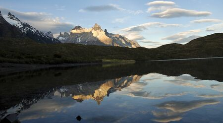 Cuernos del Paine reflected on the water