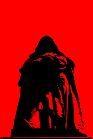 inquisition: A silhouette of the statue of Giordano Bruno becomes an illustration