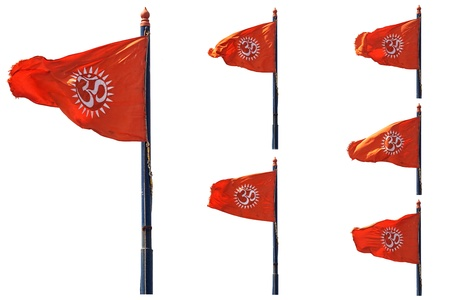 many poses of an indian orange flag with the sign of om isolated on white background photo