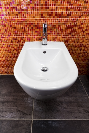 Bidet installed in a bathroom with a mosaic wall of warm tone and a dark gray floor photo
