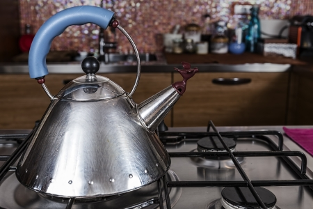 steel kettle with a bird shaped cap is on an off stove in a modern kitchen  photo