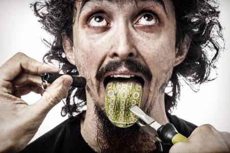 Futuristic check-up on a cybernetic human tongue