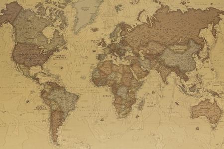 Mapa geográfico antigua del mundo con los nombres de los países Foto de archivo