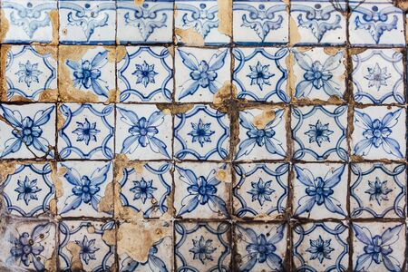 etnic: Texture of traditional Portuguese tiles on the wall