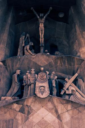 A part of the Gaudi monument Sagrada Familia in Barcelona