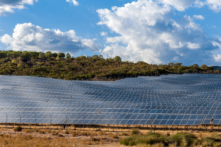 A river of solar panels in the middle of the hills