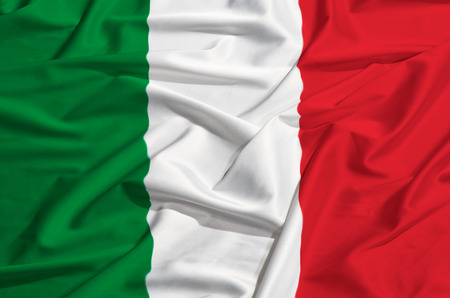 italy flag: Bandera de Italia en una sábana de seda Foto de archivo