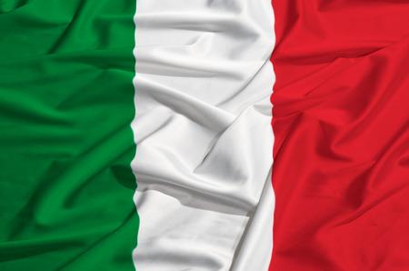 Italy flag on a silk drape Banco de Imagens