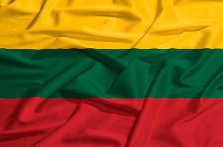 lithuania flag: Lithuania flag on a silk drape waving