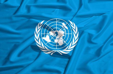 onu: onu flag on a silk drape waving