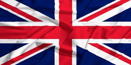 United Kingdom flag on a silk drape waving photo