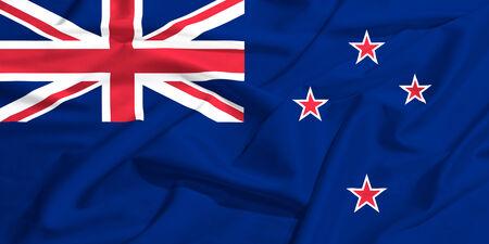 New Zealand flag on a silk drape waving