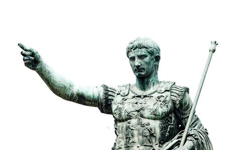 Roman emperor bronze statue isolated on white