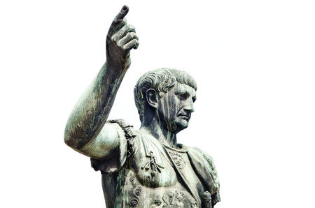 augustus: Roman emperor bronze statue isolated on white