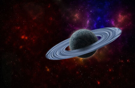 saturn rings: background of a deep space star field and planet with rings Stock Photo