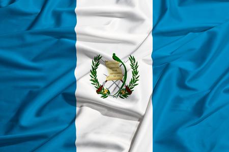 bandera de guatemala: Bandera de Guatemala en una s�bana de seda ondeando