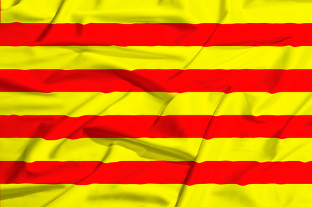 catalunia: Catalunia Flag on a silk drape waving