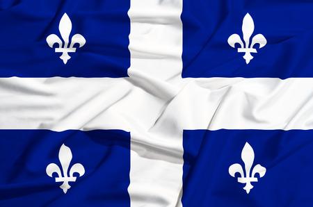 lilium: Quebec Flag on a silk drape waving