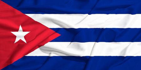 cuba flag: Cuba flag on a silk drape waving
