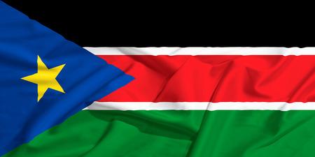 south sudan: South Sudan flag on a silk drape waving