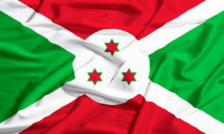 부룬디 깃발을 흔들며 실크 드레이프