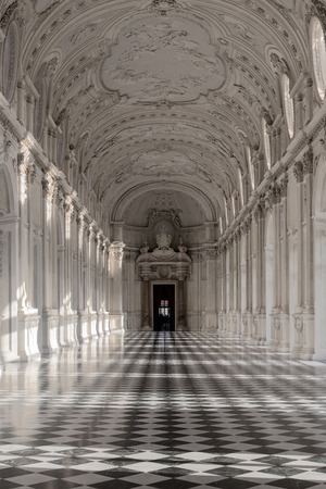 Interior gallery of royal palace of Venaria Reale in Piedmont