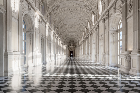 Interior gallery of royal palace of Venaria Reale in Piedmont.