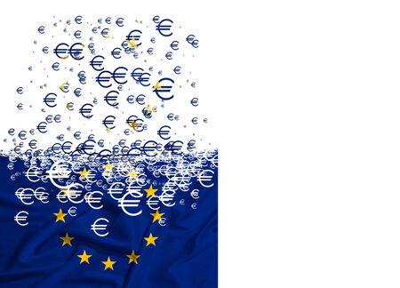 dissolving: European Union flag dissolving as a simbol of finacial crisis