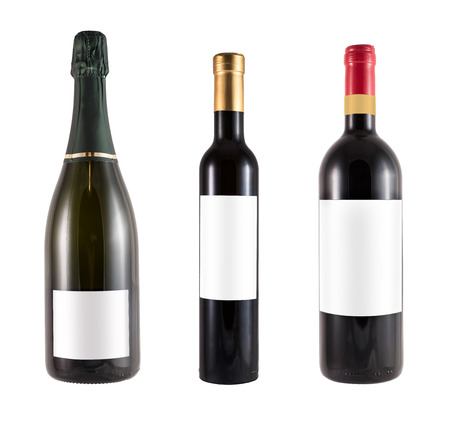 3 bottles of italian red wine made of green glass and blank label Standard-Bild