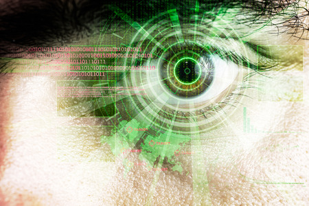beholder: rendering of a futuristic cyber eye with laser bright light effect Stock Photo