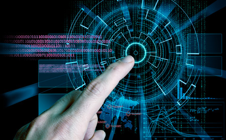 rendering of a futuristic cyber background target and finger pushing