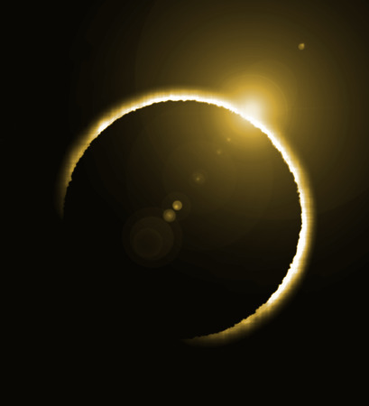 rendering of a solar eclipse and a big yellow flare 版權商用圖片