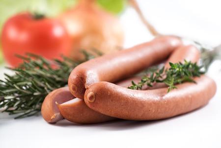 german sausage: three german sausage and herbs That were used to prepare them