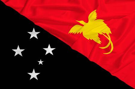papua: Papua new guinea flag on a silk drape waving