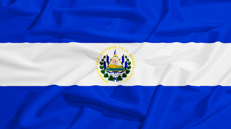 bandera de el salvador: Bandera de El Salvador en un paño de seda ondeando