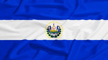 drape: El Salvador flag on a silk drape waving