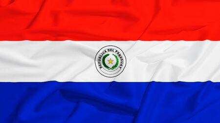 bandera de paraguay: Bandera de Paraguay en un pa�o de seda ondeando Foto de archivo