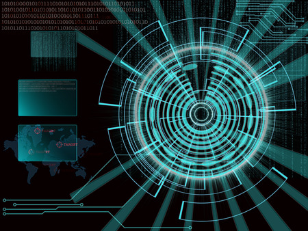 beholder: rendering of a futuristic cyber background target with laser light effect