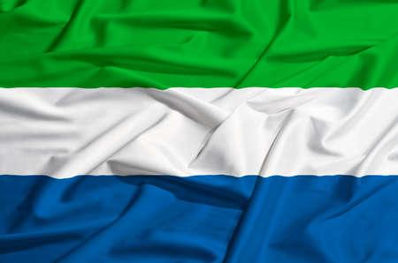 drape: Sierra Leone flag waving on a silk drape