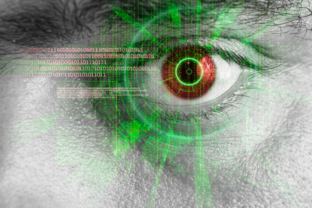 behold: rendering of a futuristic cyber eye with green laser light effect Stock Photo