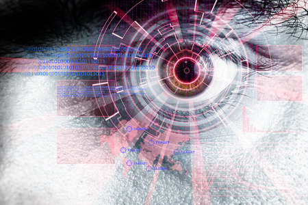 beholder: rendering of a futuristic cyber eye with red laser light effect